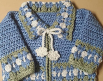 Crocheted Earflap with Flower and Matching Sweater