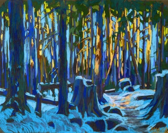 Lynn Loop Trail. Forest. North Vancouver. Canada. Original pastel painting in impressionistic style.