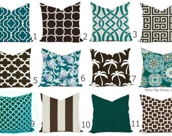 Outdoor Pillows or Indoor Custom Cover -  Aqua Blue Teal Peacock Brown Chocolate Modern Geometric 18x18, 16x16