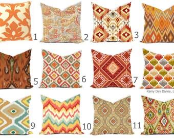 Pillow Covers Outdoor or Indoor Custom  - Orange Tangerine Rust Sienna Spice Cayenne Ivory 16x16, 18x18 modern ikat geometric