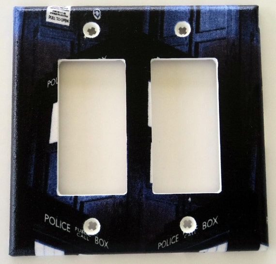 Dr who tardis police box print double rocker light switch gfi for Tardis light switch cover