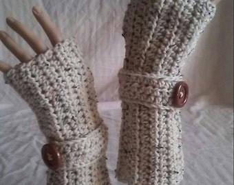 Crochet Fingerless Gloves Soft & Comfy Aran Fleck