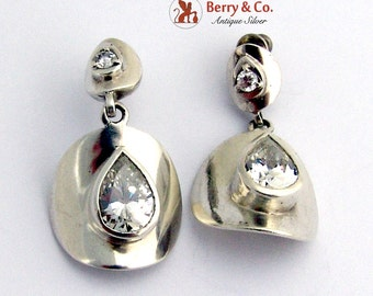 Round Curved Dangle Earrings Teardrop CZ Accents Sterling Silver