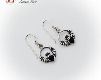 Irish Claddagh Dangle Earrings Onyx Heart Sterling Silver