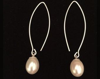 Pearls on French  Ear wire - Pearls on Fancy Ear Wire - Almond Shaped Ear Wire - Fancy Pearl Earrings  - Pearl Ear Drops
