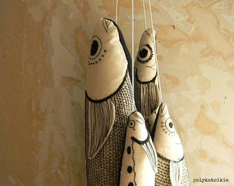 Fish on a String, SET OF FOUR, Embroidery Decorative Fish, Textile Ornament, Wall Object, Soft Sculpture, Home Decor