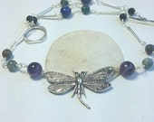 dragonfly necklace, purple amythest necklace,  boho necklace, nature jewelry, natural stone necklace