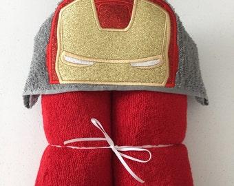 "Iron Hero Applique Hooded Bath, Beach Towel 30"" x 54"""