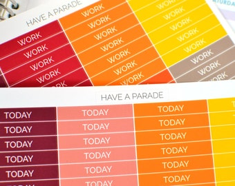 56 Header Stickers Warm Colors (Simple/Clean Font) for your Erin Condren Life Planner