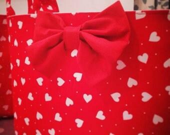 Hearts Fabric Basket - Red Pink or Blue -Nappy Basket, Diaper Caddy, Nursery Storage, Playroom, Toy Storage, Nursery Decor