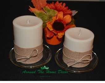 Burlap Accented All Natural Soy Pillar Candles, Vegan Pillar Candles