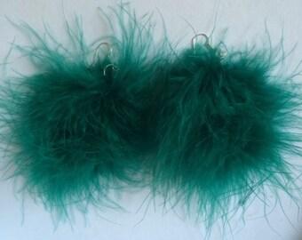 Emerald Green Pom Pom Earrings Large