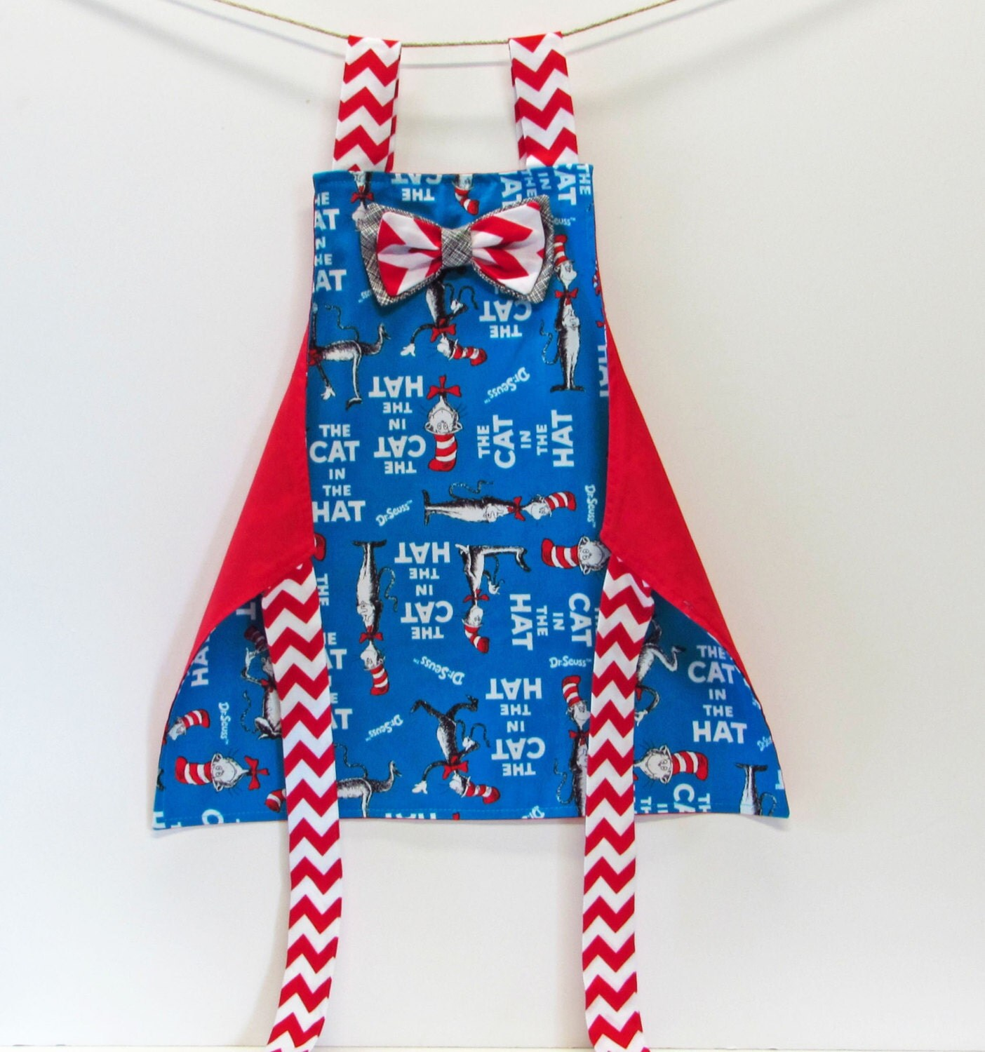 Blue apron gift - Kids Apron Kids Arts And Crafts Kids Gift Under 25 Toddler Boy Girl Cat In The Hat Bow Tie Boys Apron Aqua Blue And Red