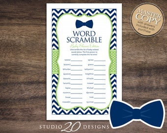 Instant Download Bow Tie Word Scramble Baby Shower Game, Printable Navy Blue Green Chevron Baby Shower Word Scramble, Little Man Theme 79A