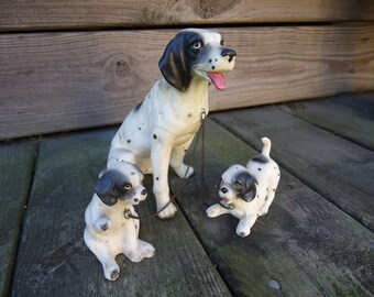 Dalmation Dog Figurine with Puppies on Chain