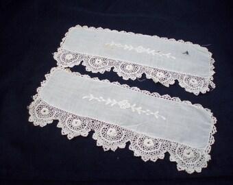 Antique Irish Crochet and White Work Cuffs, Pocket Edges