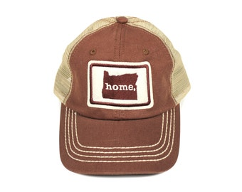 All 50 States Available: Home State Apparel Trucker Cap - Brown
