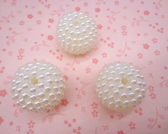 20pcs Ivory white 32mm Yang Mei shape faux Pearl beads,plastic beads with hole