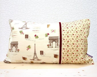 """Handmade 21""""x12"""" Cotton Cushion Lumbar Pillow Cover in Cream/Brown/Pink/Rose Floral/French/Eiffel Tower Rosie's Journey Design Print"""