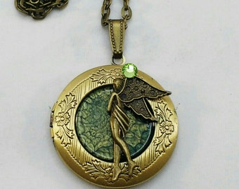 Green Fairy Fantasy Locket Hand made pendant