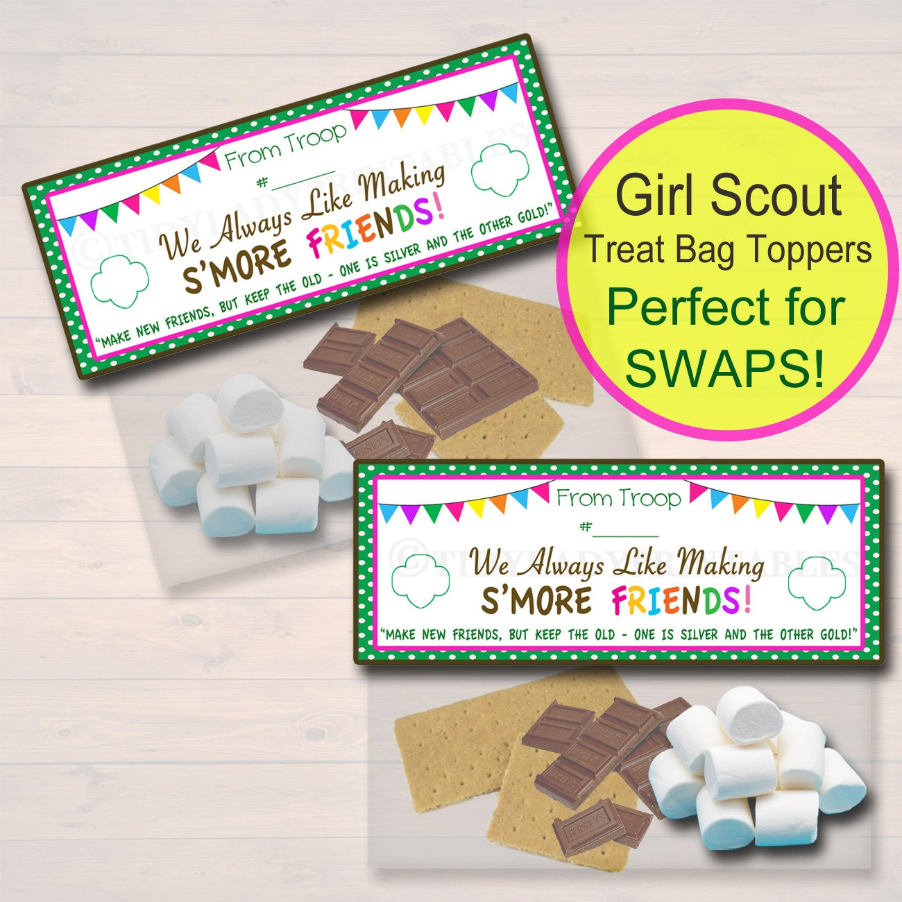 Girl scout scrapbook ideas - Girl Scout S Mores Treat Bag Toppers Girl Scout Crafts Girl Scout Swap Ideas Instant Download Girl Scout Camping Girl Scout Printables