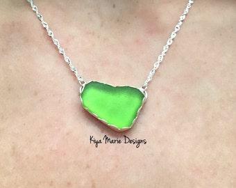 Sea Glass necklace, green sea glass necklace, bezel set in fine & argentium silver, lime green sea glass, rare, Eco friendly, beach ocean