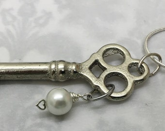 Skeleton Key - Antique Skeleton Key to My Heart Necklace - Sterling Silver Chain &  Heart - Pearl - Silver Skeleton Key Necklace