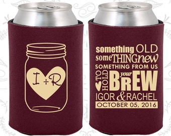 Wedding Can Coolers (C01) Mason Jar - Something Old Something New - Personalized Can Coolers, Custom Beer Can Coolers, Wedding Favors