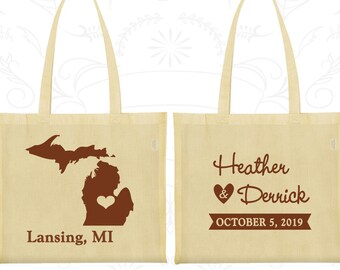 Michigan Wedding, Michigan Tote Bags, Cheap Welcome Bags, Destination Wedding Bags, State Tote Bags, Custom Tote (121)