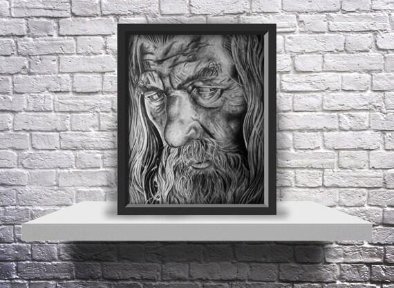 Gandalf the Grey Drawing (Sir Ian Mckellen) - 8X10 Print