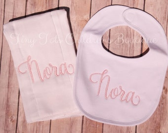 Personalized Bib and Burp Cloth Set - Monogrammed Burp Cloth and Bib Set - Embroidered Baby Gift - Baby Shower - Newborn