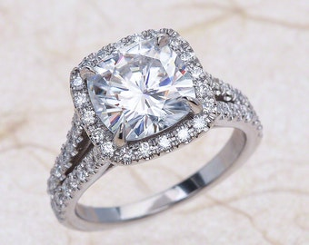 NEO Moissanite Split Shank Halo Diamond Engagement Ring in 14k White Gold 8x8 MM