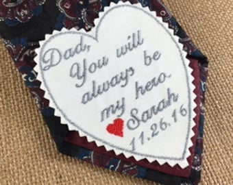 FATHER of the BRIDE GIFT - Wedding Tie Patch, Wedding Gift, Iron On Patch, Sew On Patch, You Will Always Be My Hero