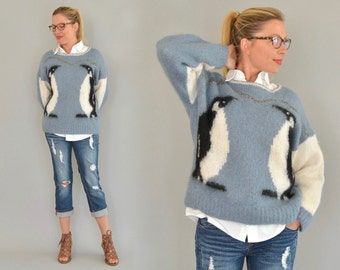 Blue Mohair Sweater - Vintage 80s Warm and Fuzzy Hand Knit Sweater Blue White Black Metallic Yarns Intarsia Penguins M Medium Picture Knit