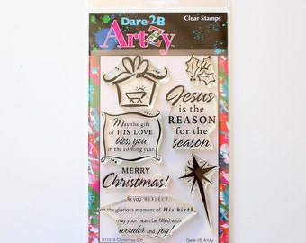 CLEARANCE! Dare 2B Artzy Clear Stamps Christmas Gift (New but Stamps turning yellow!)