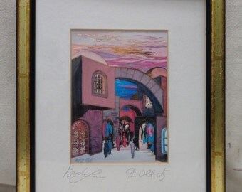 """Bracha Lavee Matted Decorative Art """"The Old City"""" w. Gold Finish Antique Frame"""