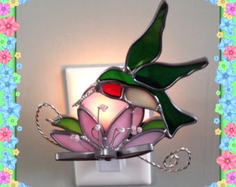 Hummingbird Night Light, Stained Glass, Sun Catcher, Custom Made, Variety of Color Choices