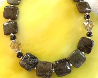Snakeskin Gemstone, Czech Crystal, Sterling Silver Necklace (N18)
