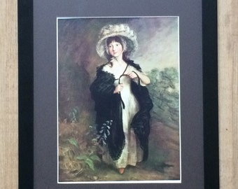 Mounted and Framed Miss Haverfield - Thomas Gainsborough, 12'' x 16'', vintage print