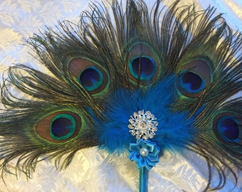 Peacock Feather Fan Burlesque Boudoir Bridesmaid Bride or Decoration - Made to order