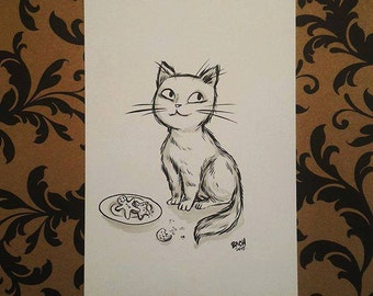 Original drawing - cat and cookies