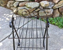 Mid Century Wrought Iron Magazine Holder, Rack, Sturdy, Mid Century Modern, Black, Good Condition, Add Charm to any Home,