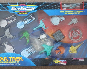 Vintage 1993 Galoob Micro Machines Space Star Trek Limited Edition Collector's Set Number 026464 Complete Highly Detailed Great Geek Gift