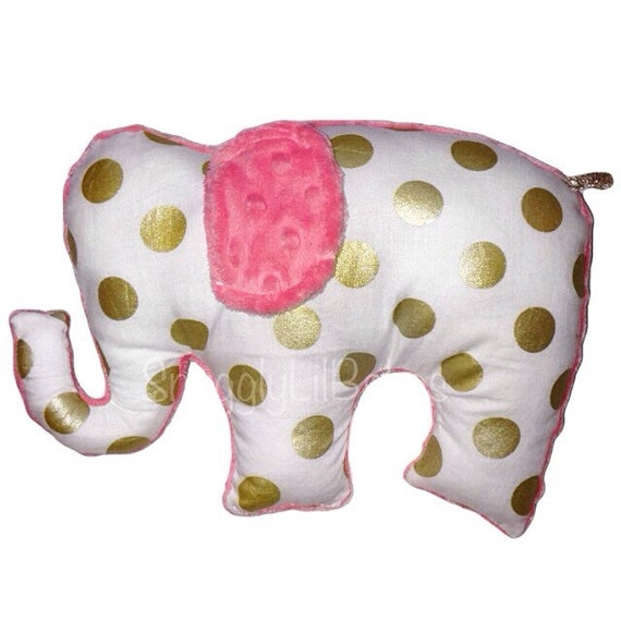 Marion S Coral And Gold Polka Dot Nursery: Coral Gold Stuffed Elephant Toy Doll Pink Snd By