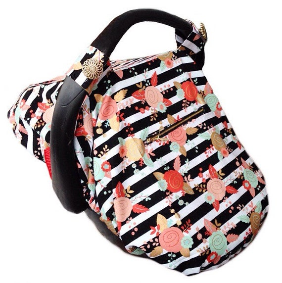 Black Stripe Floral Cover Fitted Carseat Canopy With Mint