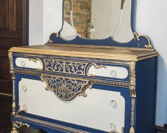 Spanish Revival Dresser in Gold White and Blue