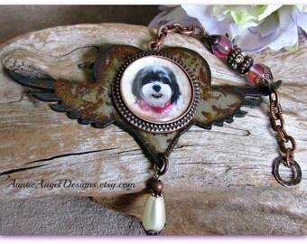 Winged Heart Pet Sympathy Photo Gift; Photo Memory Pet Angel Wings Ornament, Rusted Metal Memorial Gift; Pet Photo Keepsakes; Dog Angel