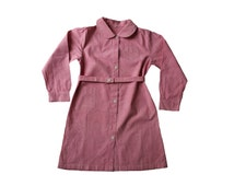 FRENCH VINTAGE 50's / kids / long blouse / tunic / dress / pink cotton fabric / new old stock / size 8 years