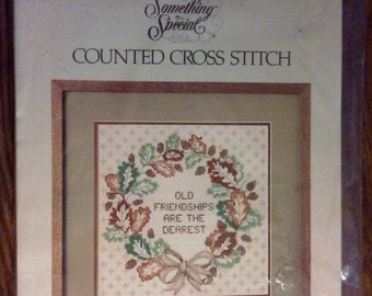 "On Sale Vintage Candamar Designs Something Special Counted Cross Stitch Kit, ""Fall Wreath Picture"", Kit #50191, Old Friendships are the Dear"
