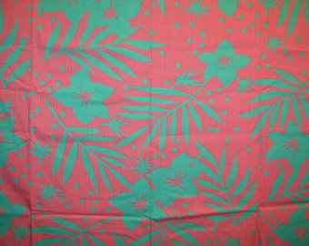 Vintage Pink and Green Striped Floral Fabric Piece  -38 X 65 INches